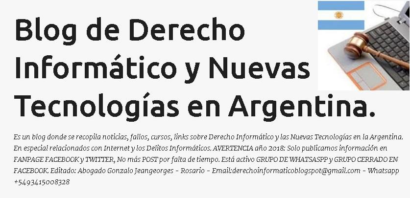 Blog sobre Derecho Informático y Nuevas Tecnologías en Argentina